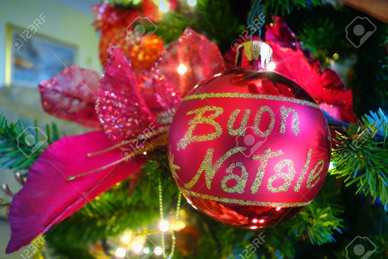 Italian Christmas.Italian Christmas Ball On Christmas Tree With Xmas Lights