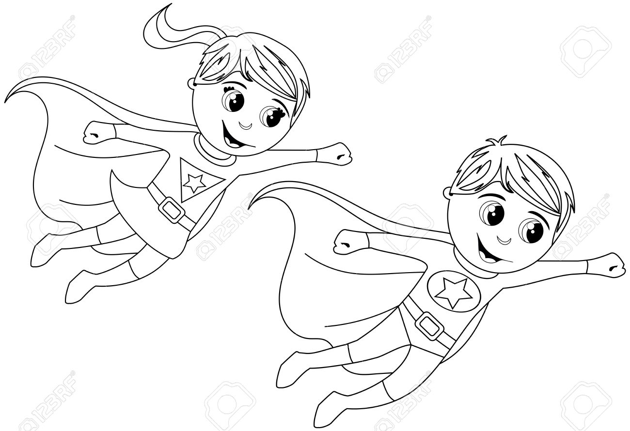 Boy and Girl Superhero kid flying for coloring book isolated - 58735107