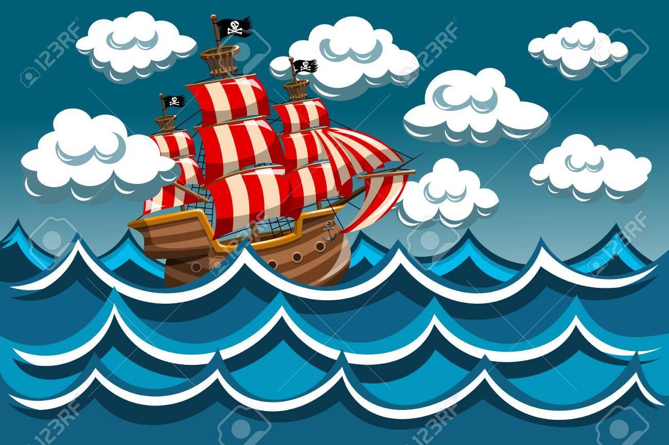 Bateau Pirate Dans La Tempete Clip Art Libres De Droits Vecteurs Et Illustration Image 59676188
