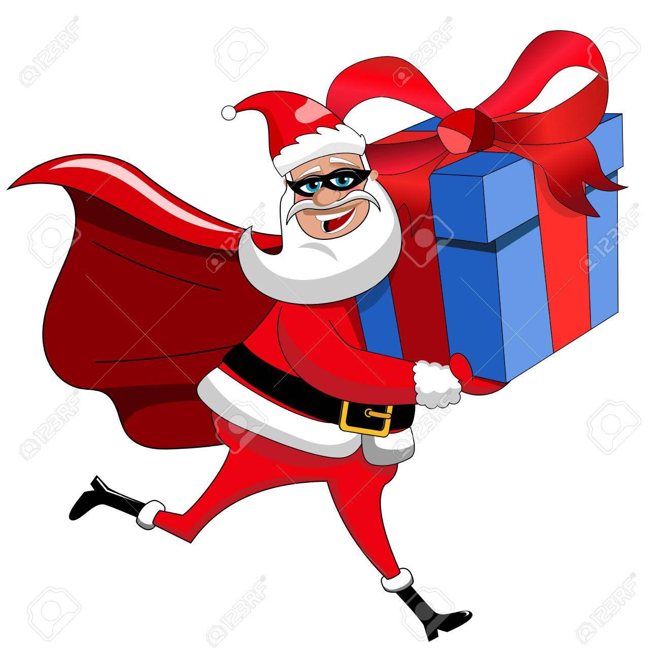 Weihnachtsmann-Superheld Großes Weihnachtsgeschenk Liefern Isoliert ...