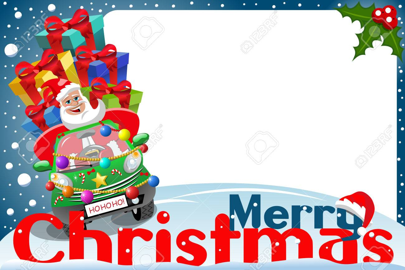 Christmas Frame With Santa Claus Driving Car Full Of Gifts At