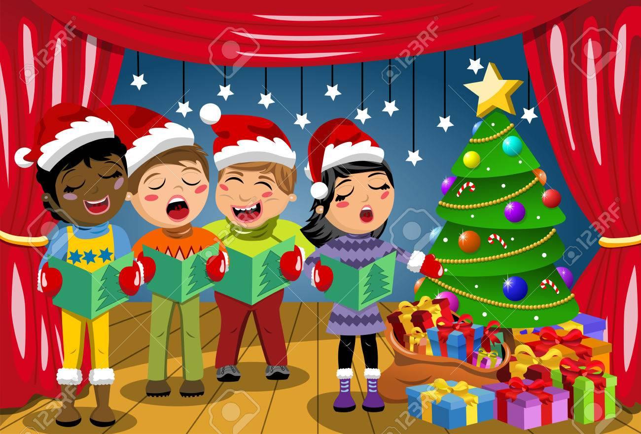 Multikulturelle Kinder Weihnachtshut Und Singen Weihnachtslied Bei ...