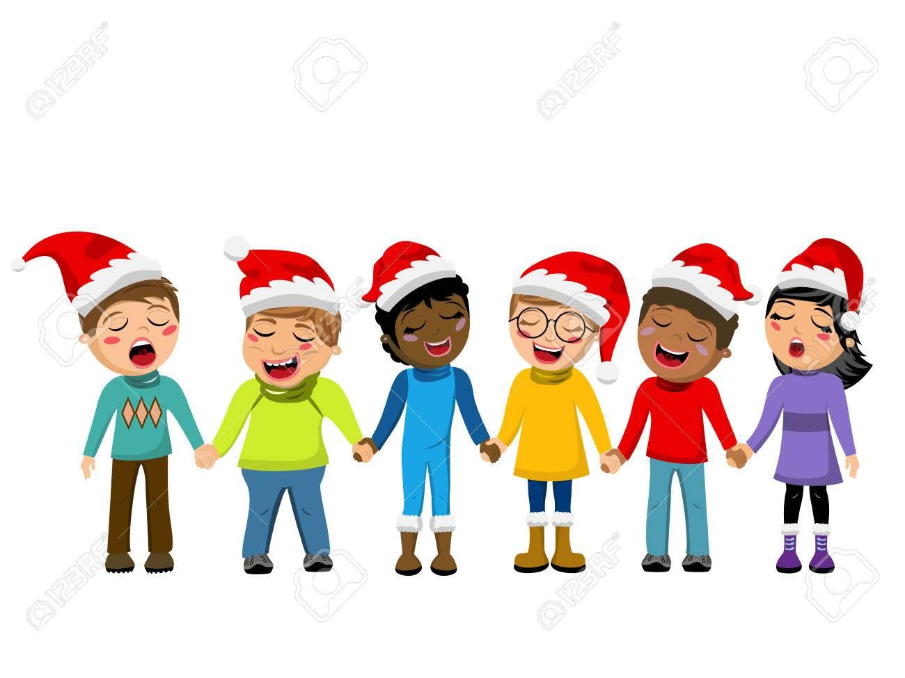 Multikulturelle Kinder Weihnachten Hut Trägt Singen Weihnachtslied ...