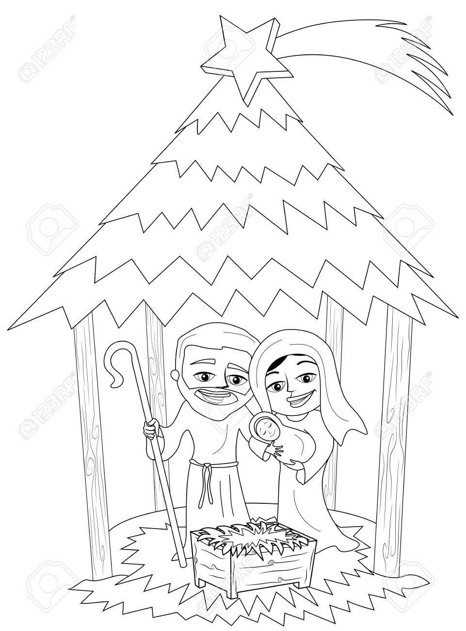 Weihnachts-Krippe Mit Josef Und Maria Mit Neugeborenen Jesus ...