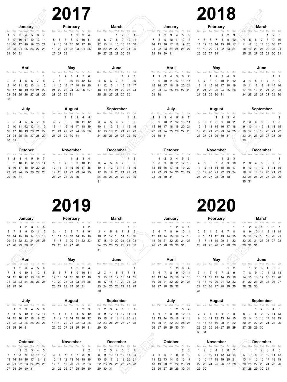 simple calendar template vector 2017 2018 2019 2020 stock vector 69063158