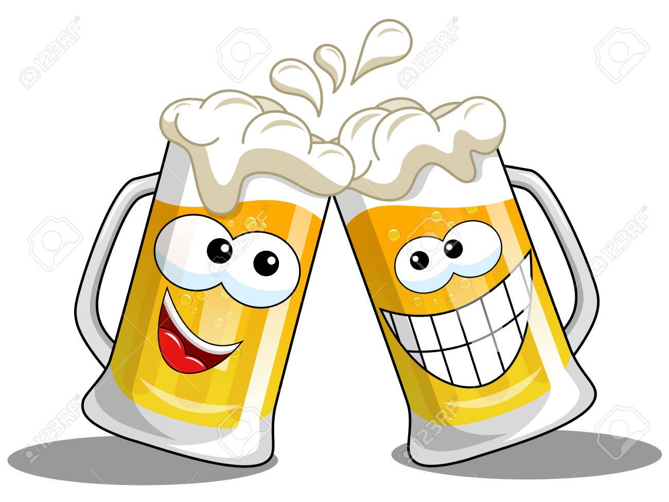 Cartoon beer mug making cheers isolated on white - 72377520