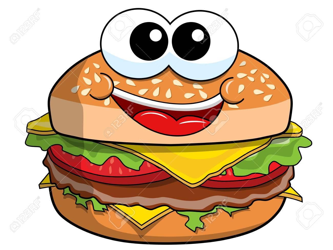 happy cartoon hamburger character isolated on white royalty free rh 123rf com cartoon hamburger pictures cartoon hamburger and hotdog