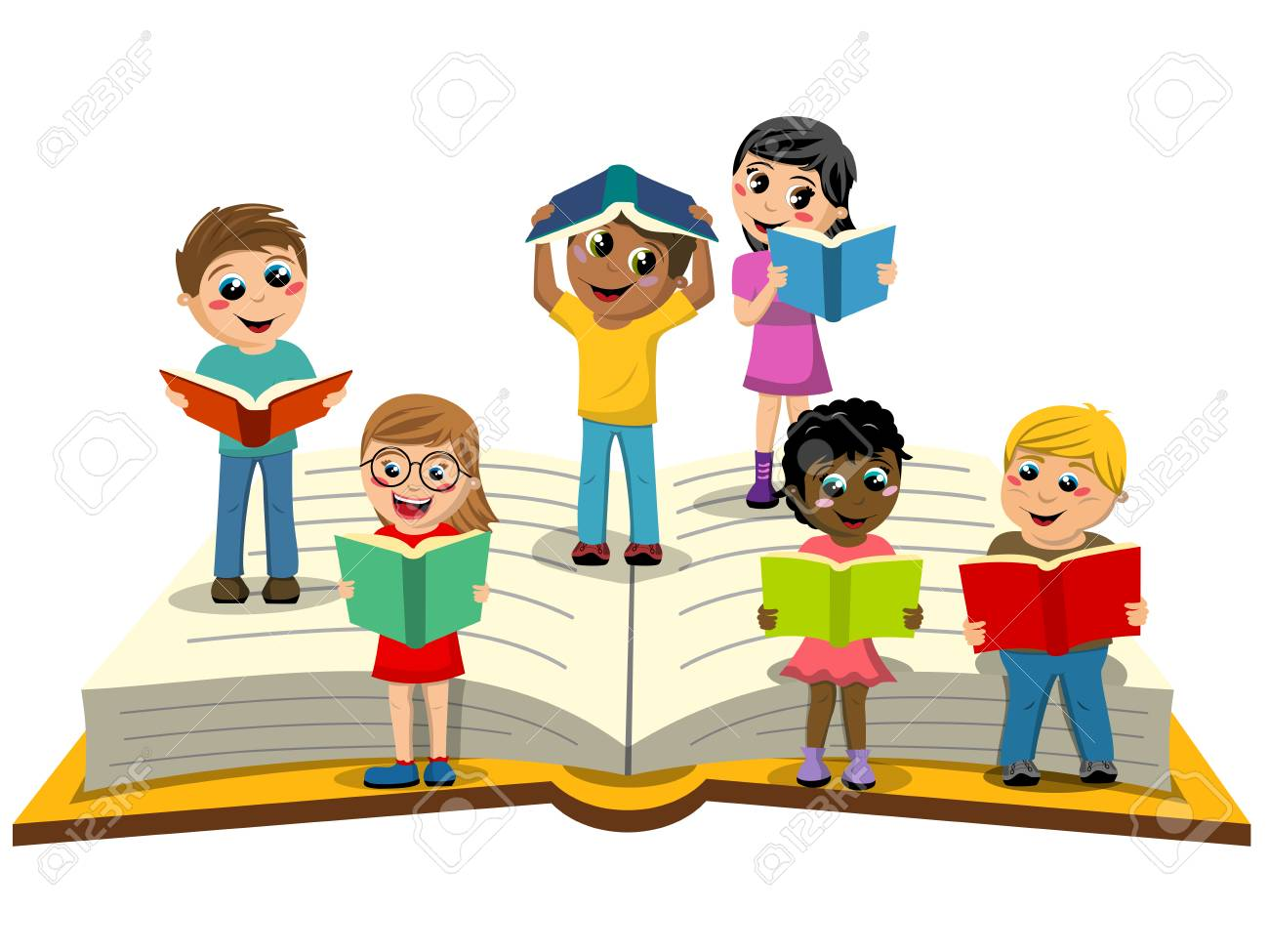 Multiracial Kids or children reading on big open book isolated - 74953625