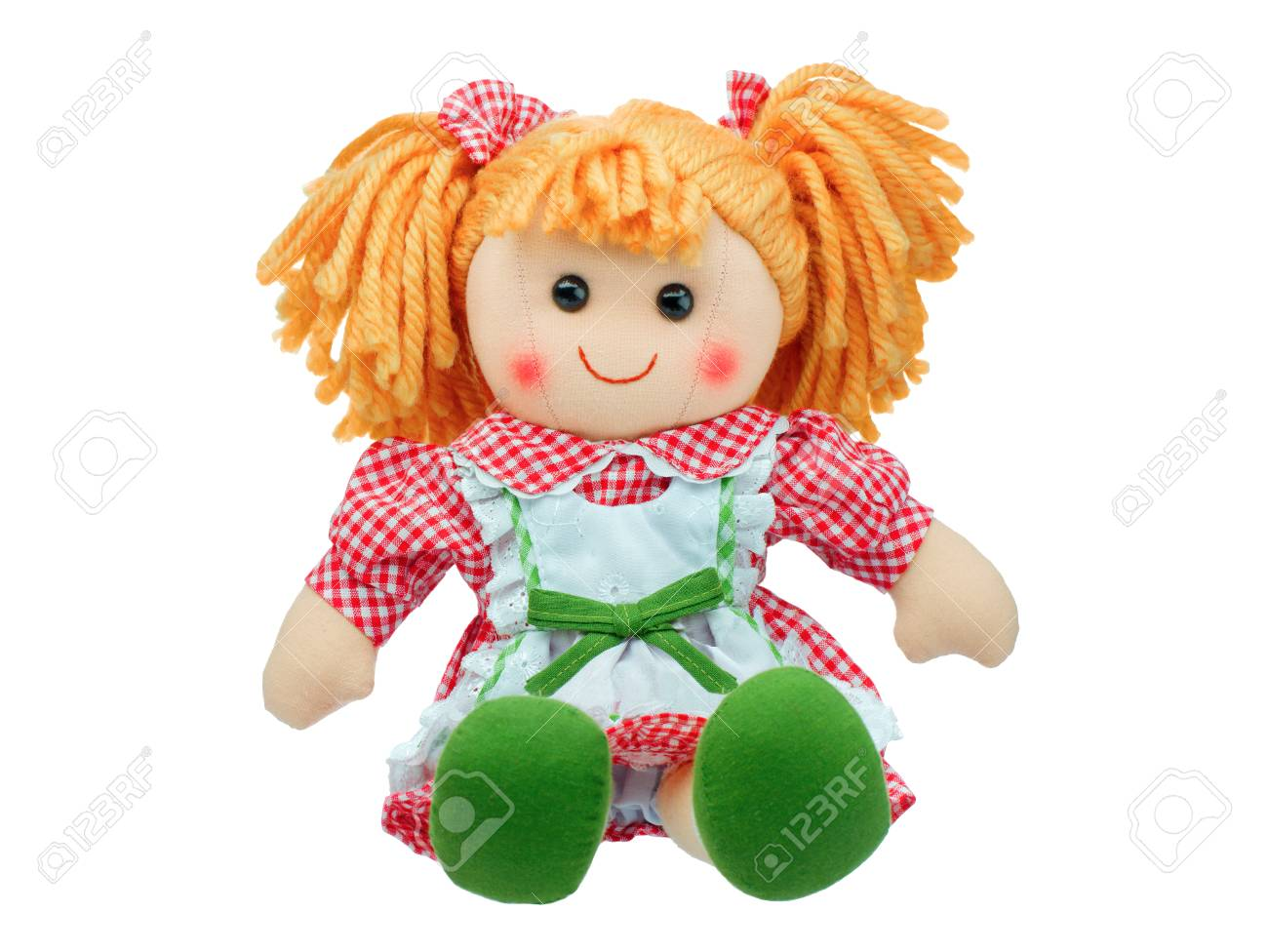Smiling sit Cute rag doll isolated - 89518720
