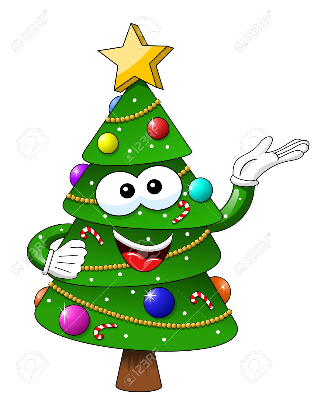Christmas Tree Mascot Character Presenting Isolated Royalty Free Cliparts Vectors And Stock Illustration Image 91595615
