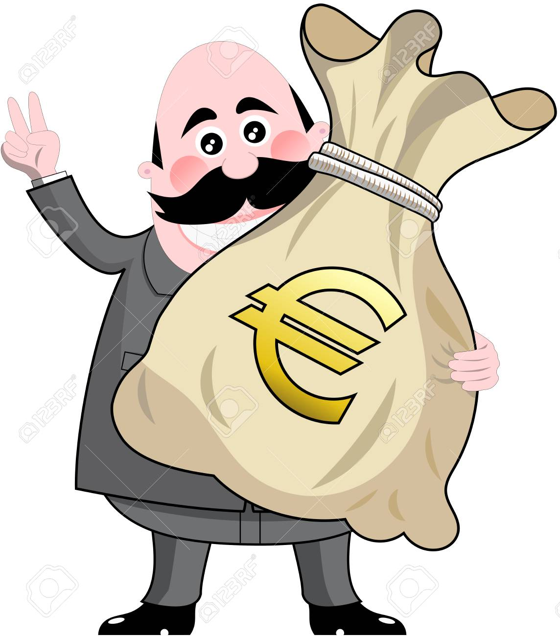 Happy Cartoon Businessman Holding Big Sack Full Of Money Euro