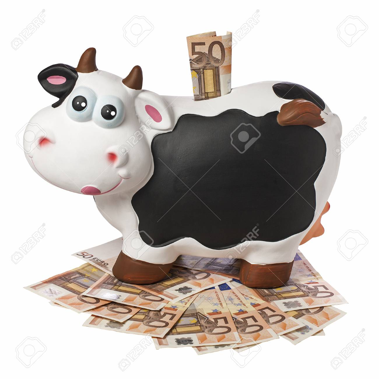 Porcelain Cow Piggybank With 50 Euro Inserted On 50 Euro Banknotes
