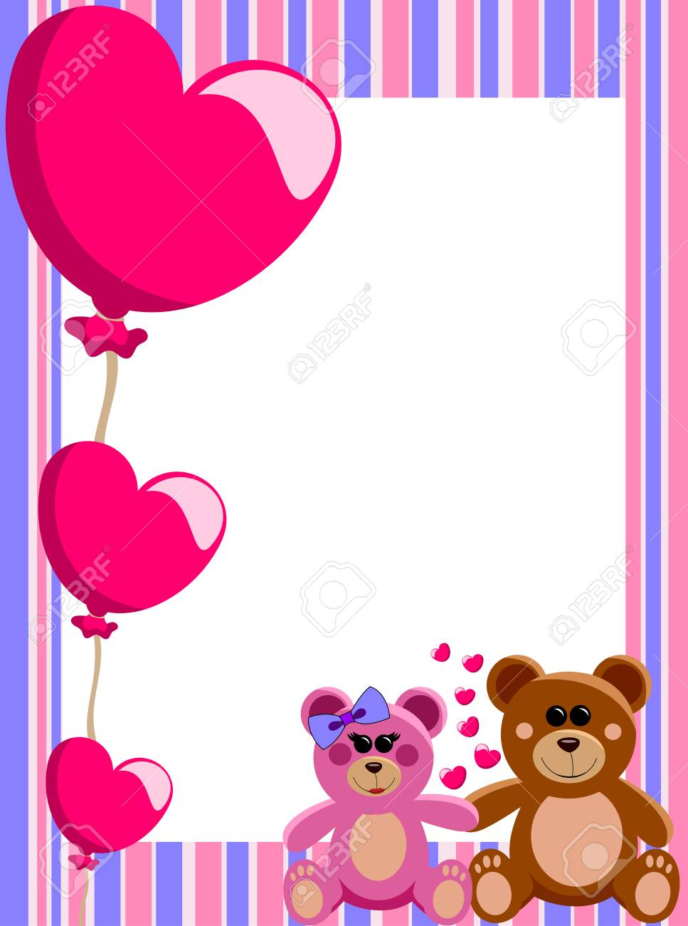 Decorative Valentine Love Frame Or Border With A Couple Of Teddy ...