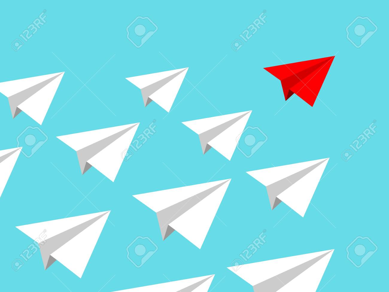 Paper airplane team with red leader conducting mission isolated on blue clear sky. Teamworking concept - 120089541
