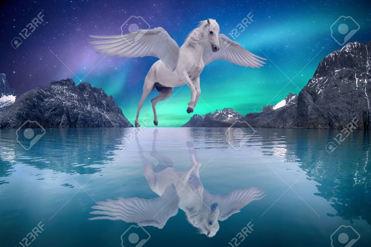Pegasus Winged Legendary White Horse Flying With Spread Wings Stock Photo Picture And Royalty Free Image Image 122393168
