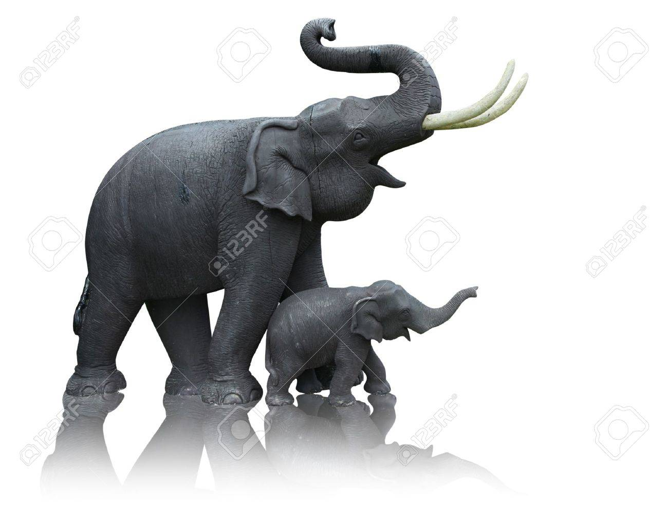 Mother and baby elephant made from the plaster mold formed by a hand-operated Stock Photo - 9141931