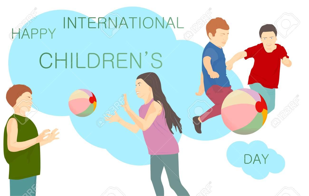 Happy International Children's Day banner with text  Children