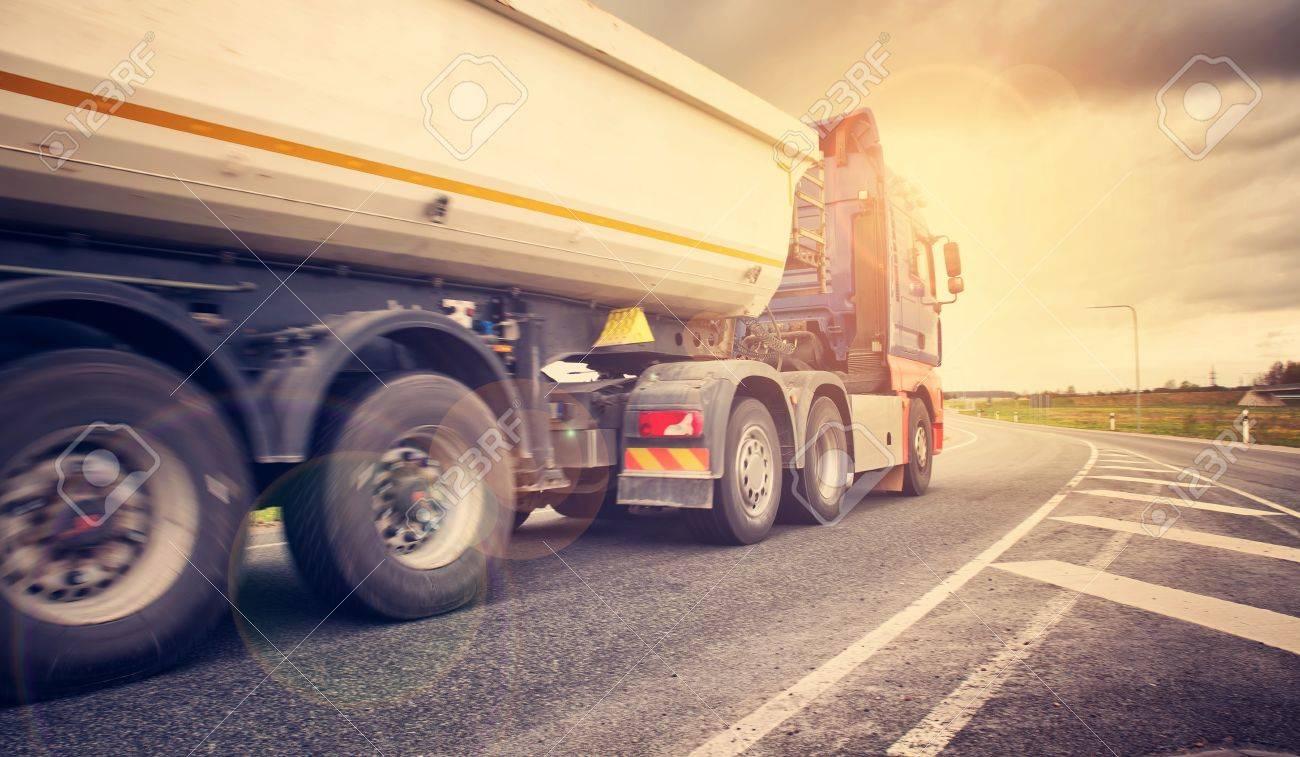 truck on asphalt road - 80346299