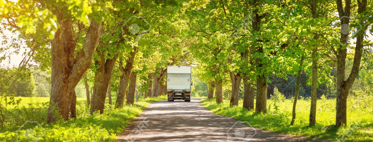 Truck moving on alley in summer - 98863160