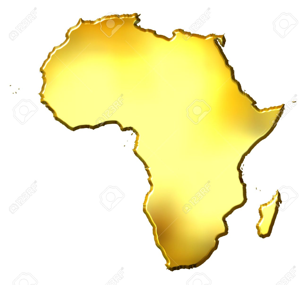 Africa 3d Golden Map Stock Photo, Picture And Royalty Free Image