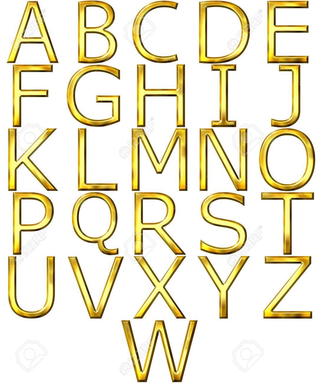3d golden alphabet Stock Photo - 4804744