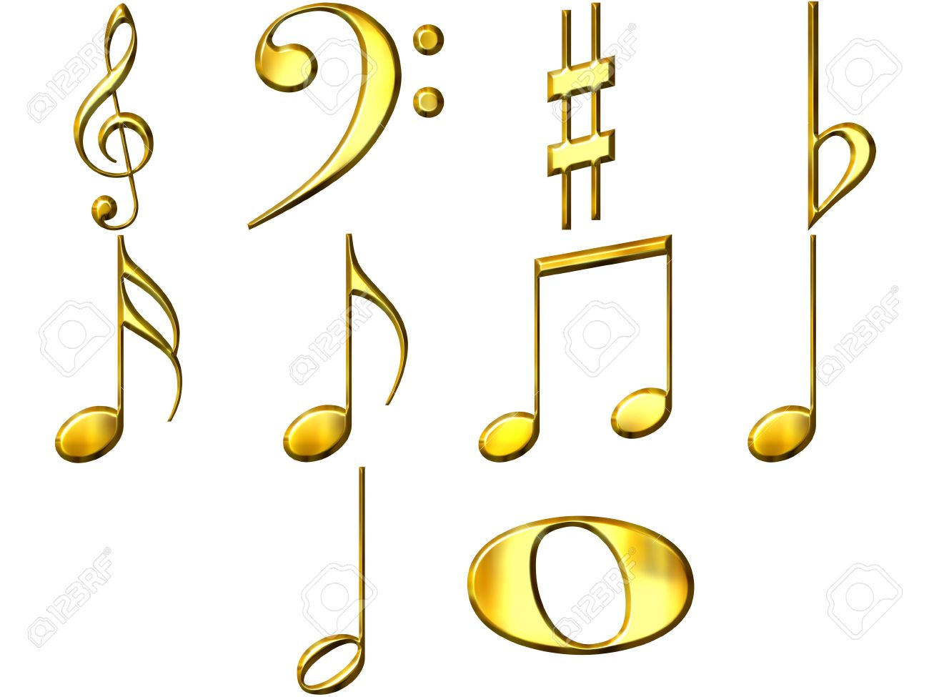 3d golden music notes Stock Photo - 4804780