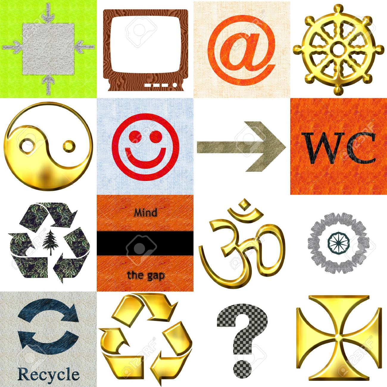 Set of 16 various icons Stock Photo - 4864253