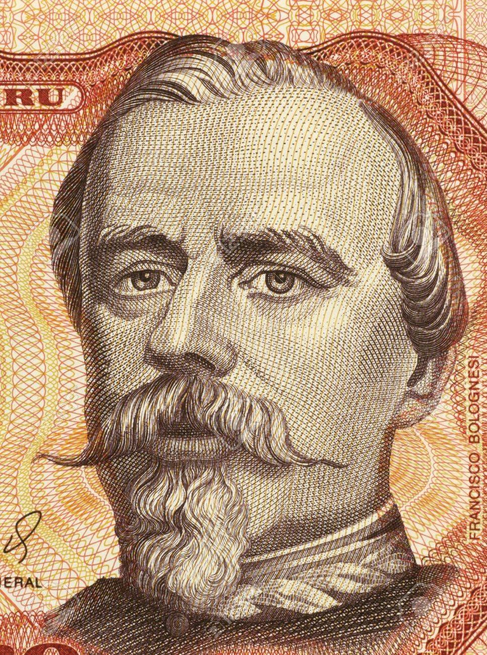 Francisco Bolognesi on 5000 Soles de Oro 1985 Banknote from Peru. Peruvian military hero. Stock Photo - 5239163