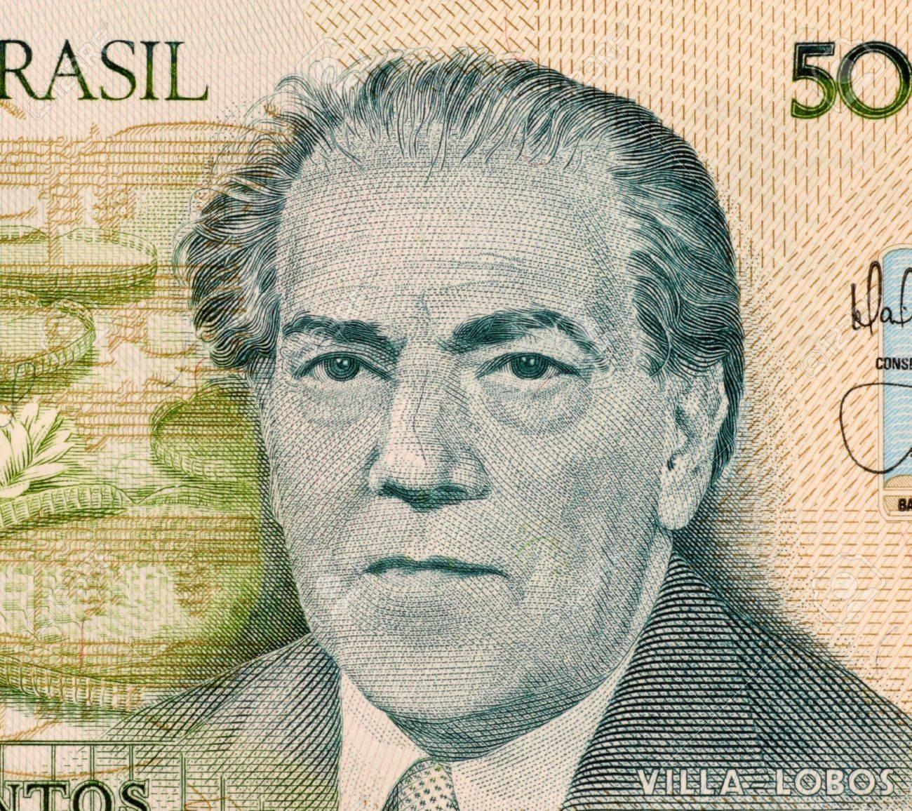 ブラジルからの 500 Cruzados 1987 紙幣のビラ = ロボス。20 世紀ブラジルの芸術音楽の単一の最も重要な創造的な図としての音楽の作曲家と呼ばれる。 写真素材 - 5239272