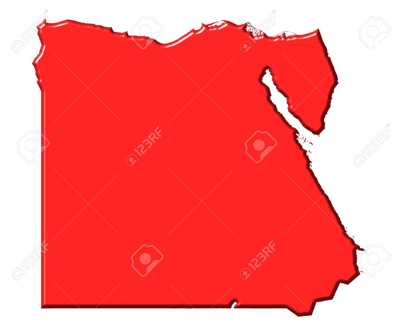 Egypt D Map With National Color Isolated In White Stock Photo - Map of egypt 3d