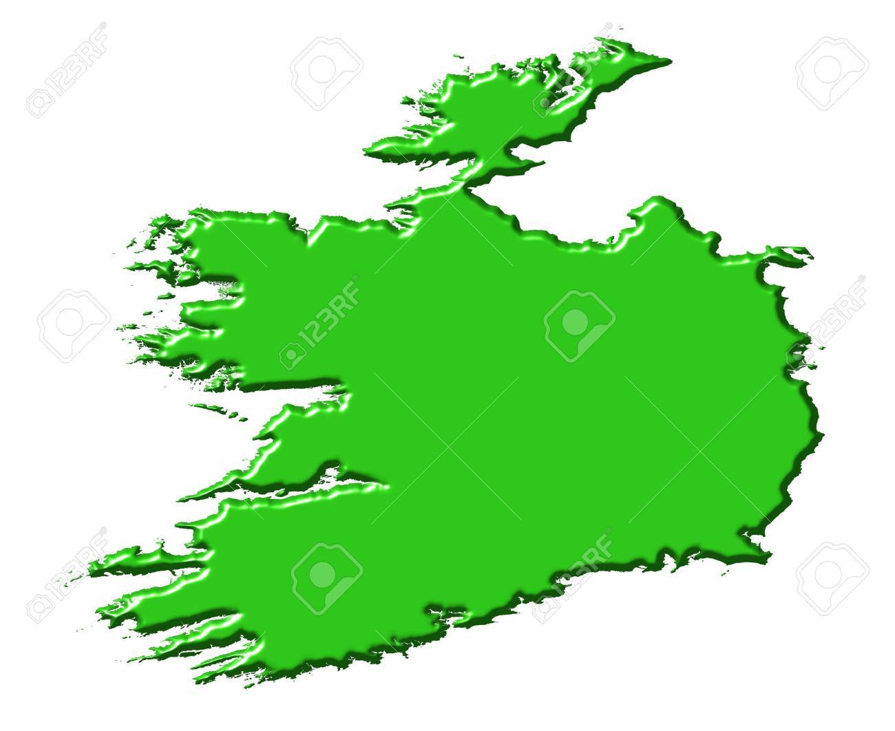 Map Of Ireland 3d.Ireland 3d Map With National Color Isolated In White