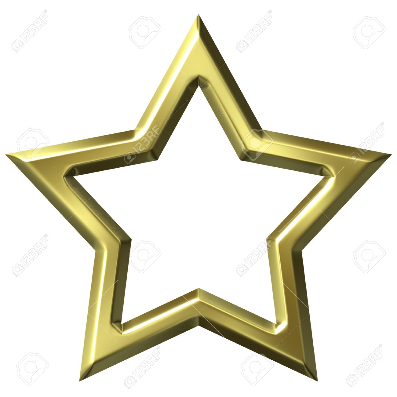 3d Golden Star Frame Isolated In White Stock Photo, Picture And ...