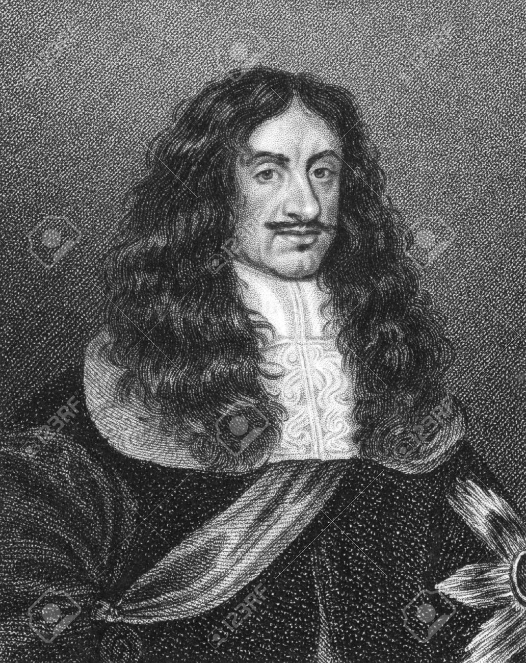 Charles II (1630-1685) on engraving from the 1800s. King of England