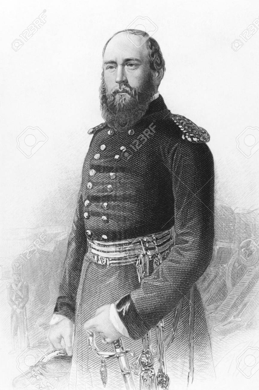 Prince George, Duke of Cambridge (1819-1904) on engraving from the 1800s. Member of the British Royal Family and army officer. Engraved from a photograph and published in London by Virtue & Co. Stock Photo - 8511476