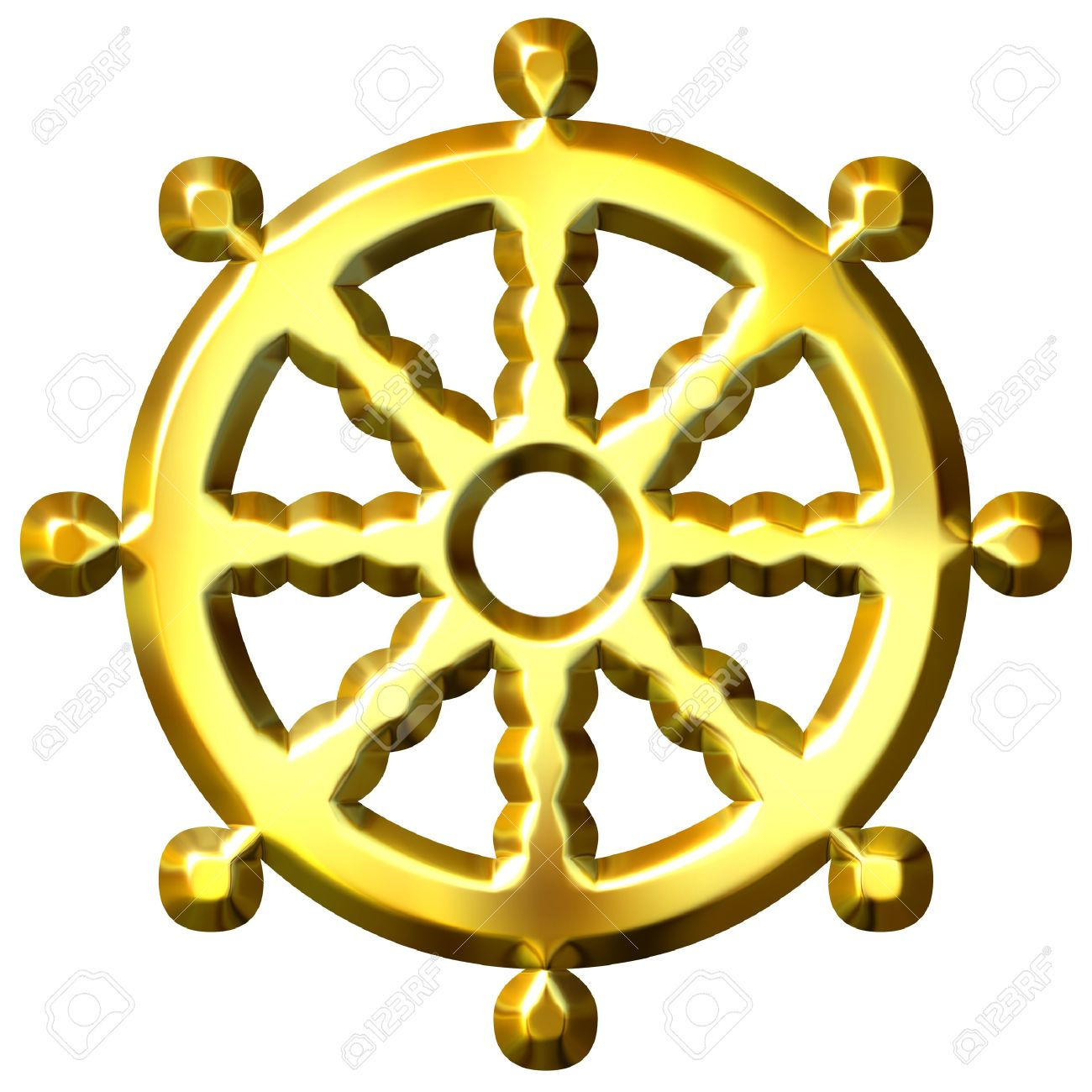 3d Golden Buddhism Symbol Wheel Of Dharma Isolated In White Stock