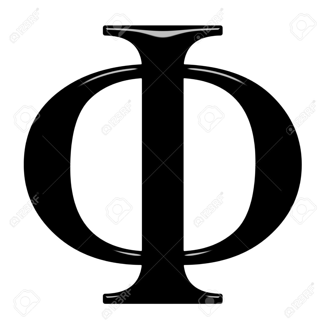 3d Greek Letter Phi Isolated In White Stock Picture And