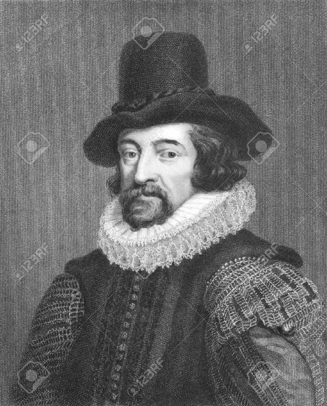 Francis Bacon (1561-1626) on engraving from the 1800s. English philosopher, statesman, lawyer, jurist, author and scientist. Engraved by J.Pofselwhite from a picture by J.Houbraken in 1738 and published in London by Charles Knight & Co, Ludgate Street. Stock Photo - 8520539