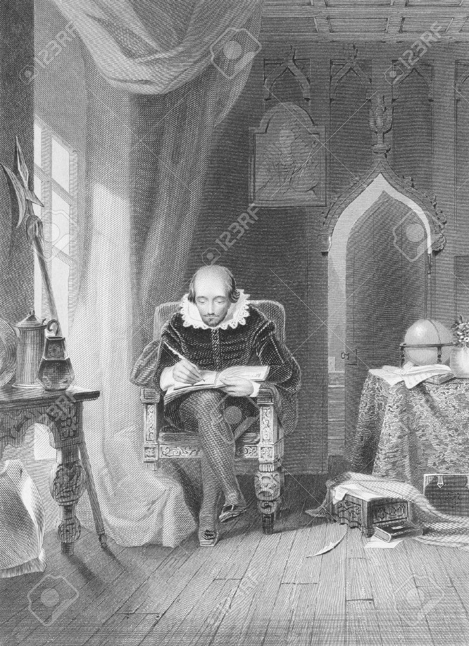 William Shakespeare (1564-1616) on engraving from the 1800s. English poet and playwright, widely regarded as the greatest writer in the English language. Engraved by A.H.Payne and published in London by Brain & Payne, 12, Paternoster Row. Stock Photo - 8520613