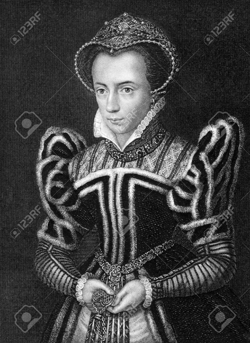 Mary I of England (1516-1558) on engraving from 1838. Queen regnant