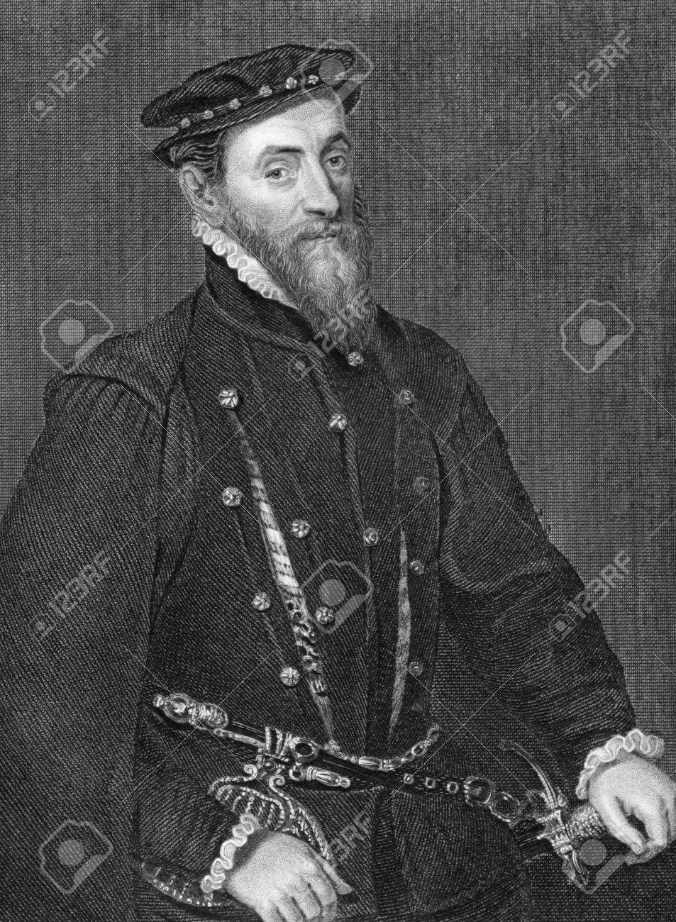 Thomas Gresham (1519-1579) on engraving from 1838. English merchant and financier who worked for King Edward VI and Queens Mary I and Elizabeth I. Engraved by H.Robinson after a painting by Holbein and published by J.Tallis & Co. Stock Photo - 9488711