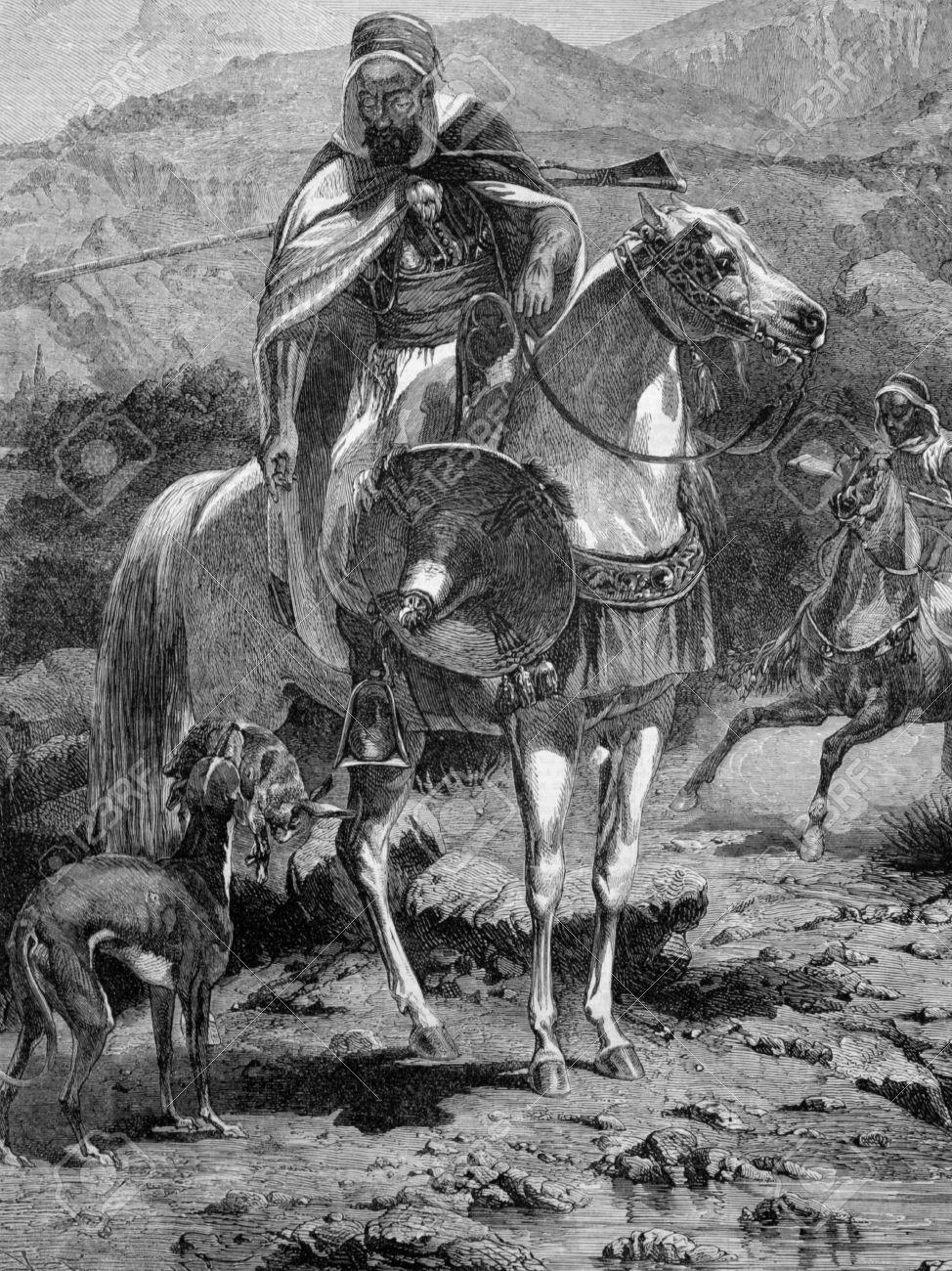 1860 年から彫刻にアルジェリアでうさぎ狩り図解回に出版されました ...