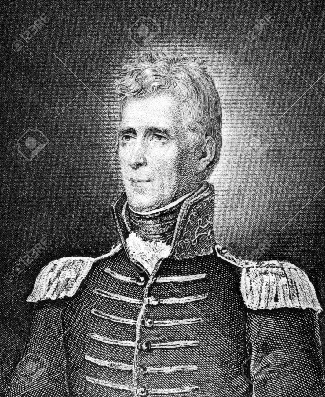 Andrew Jackson (1767-1845) on engraving from 1859. 7th President of the United States during 1829–1837. Engraved by unknown artist and published in Meyers Konversations-Lexikon, Germany,1859. Stock Photo - 15111518