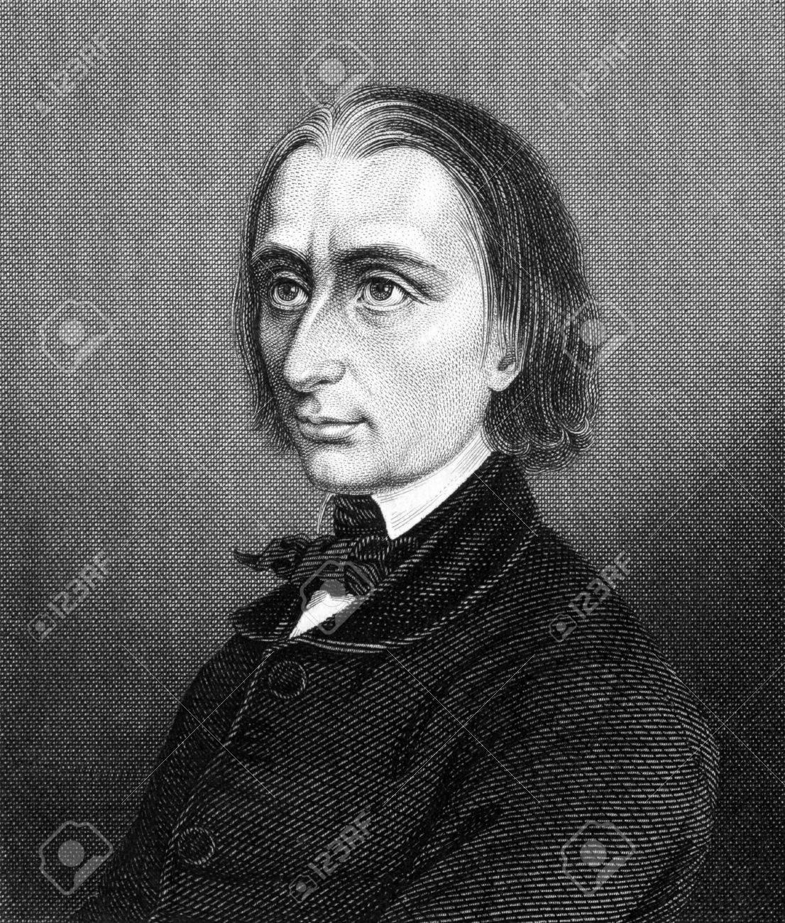 <b>Franz Liszt</b> (1811-1886) auf Stich aus 1859. Ungarische Komponist, Pianist - 15111686-Franz-Liszt-1811-1886-auf-Stich-aus-1859-Ungarische-Komponist-Pianist-Dirigent-und-Lehrer-Gestochen--Lizenzfreie-Bilder