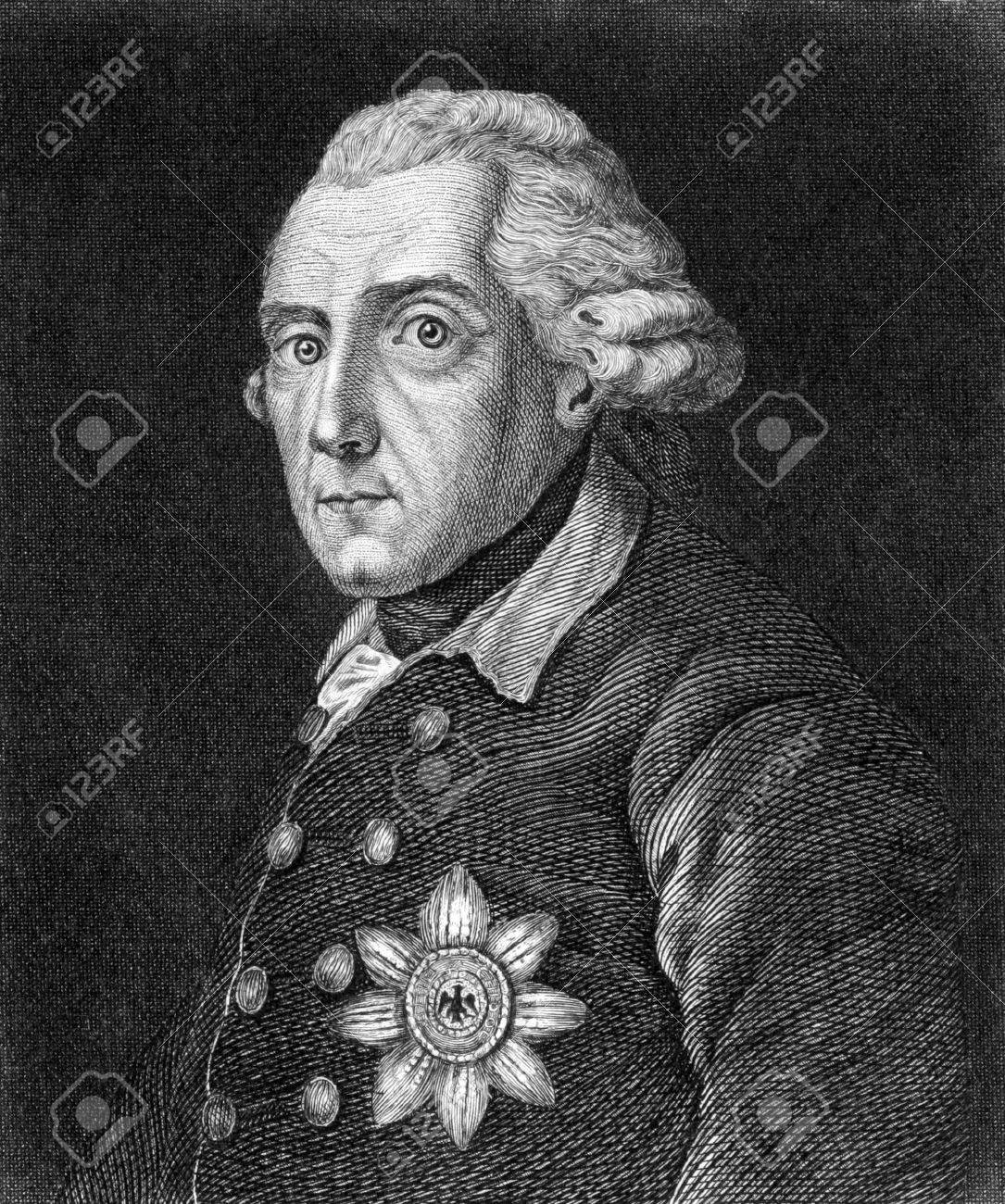Frederick II (1712-1786) on engraving from 1859. King of Prussia during