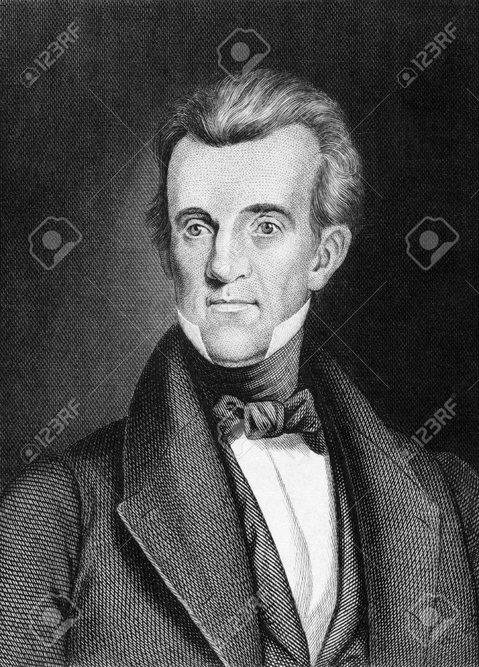 James Knox Polk (1795-1849) on engraving from 1859.  11th President of the United States during 1845–1849. Engraved by unknown artist and published in Meyers Konversations-Lexikon, Germany,1859. Stock Photo - 15112557