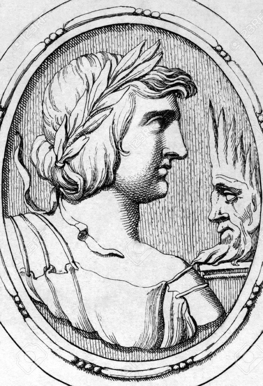 1685 年から彫刻のプブリウス ウェルギリ麻呂 (70BC-19BC)。古代ローマ ...