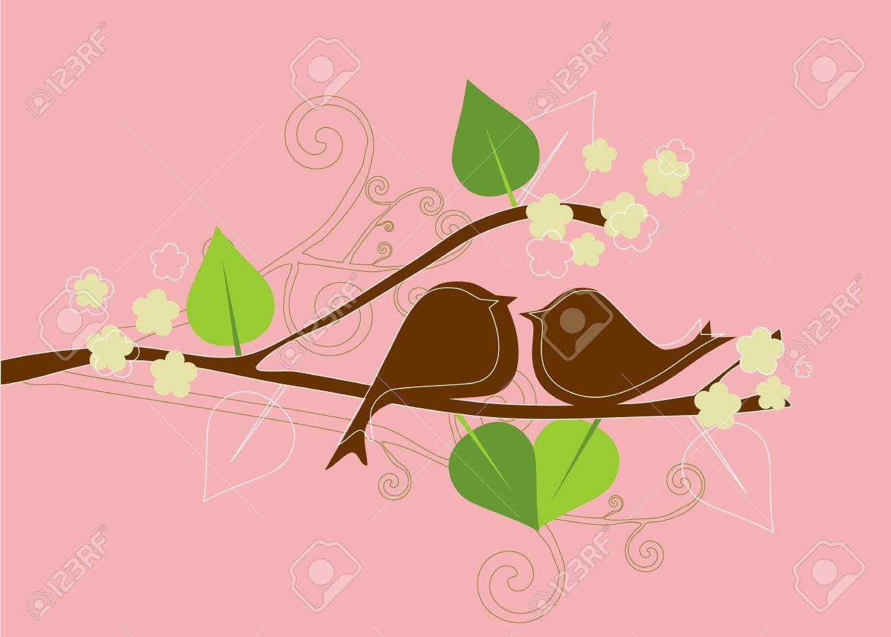Two birds in love  Vintage vector background Romantic wallpaper Stock Vector - 14852184