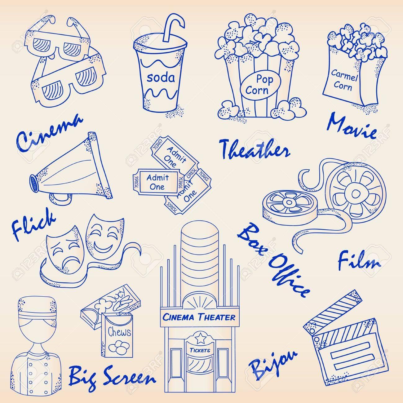Hand Drawn Movie Icons Set. Stock Vector - 12046649