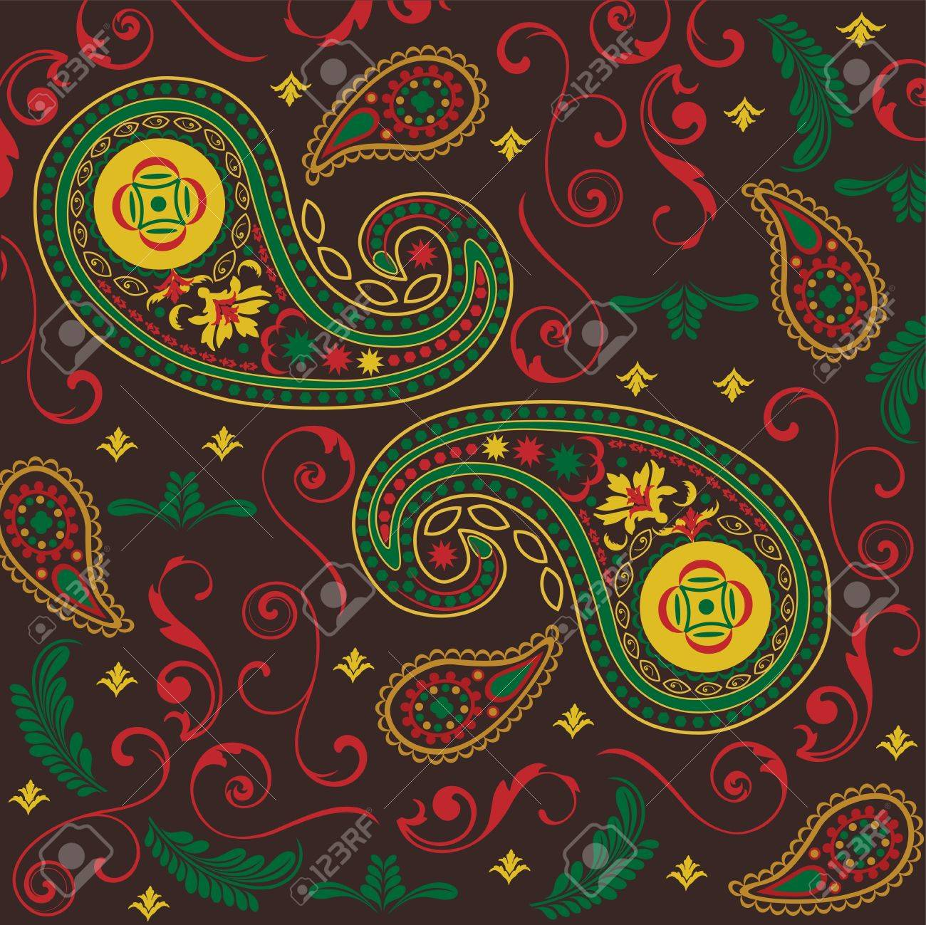 Christmas Paisley in Black Stock Vector - 13324621