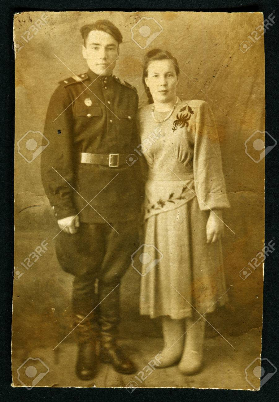 Stock Photo - USSR - CIRCA 1940s: Antique photo shows portrait of a Soviet  officer and his wife